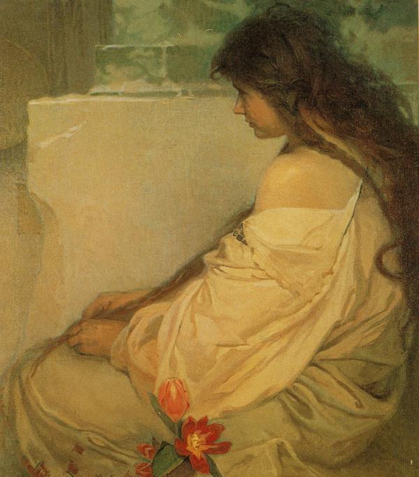 """""""Девочка с распущенными волосами и тюльпанами"""", 1920 год"""