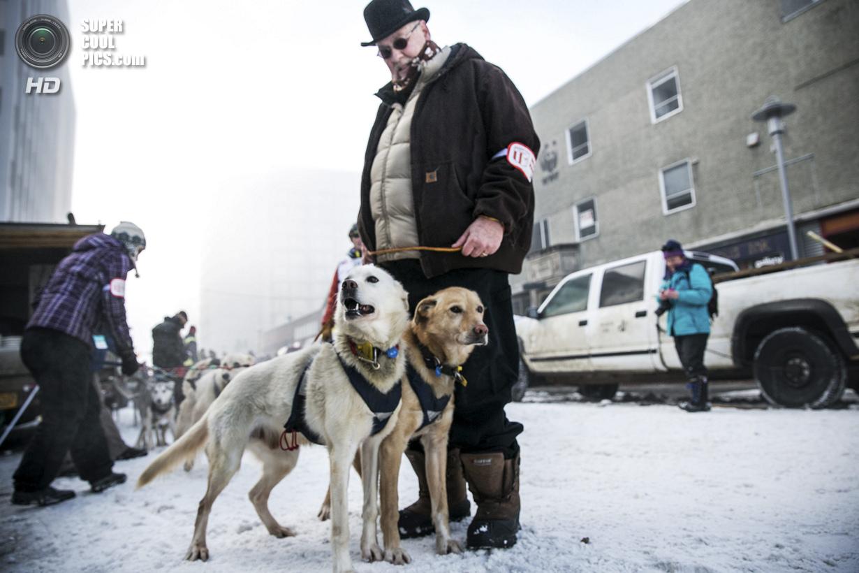 США. Анкоридж, Аляска. 1 марта. Мушер Линвуд Фидлер со своими питомцами. (REUTERS/Nathaniel Wilder)