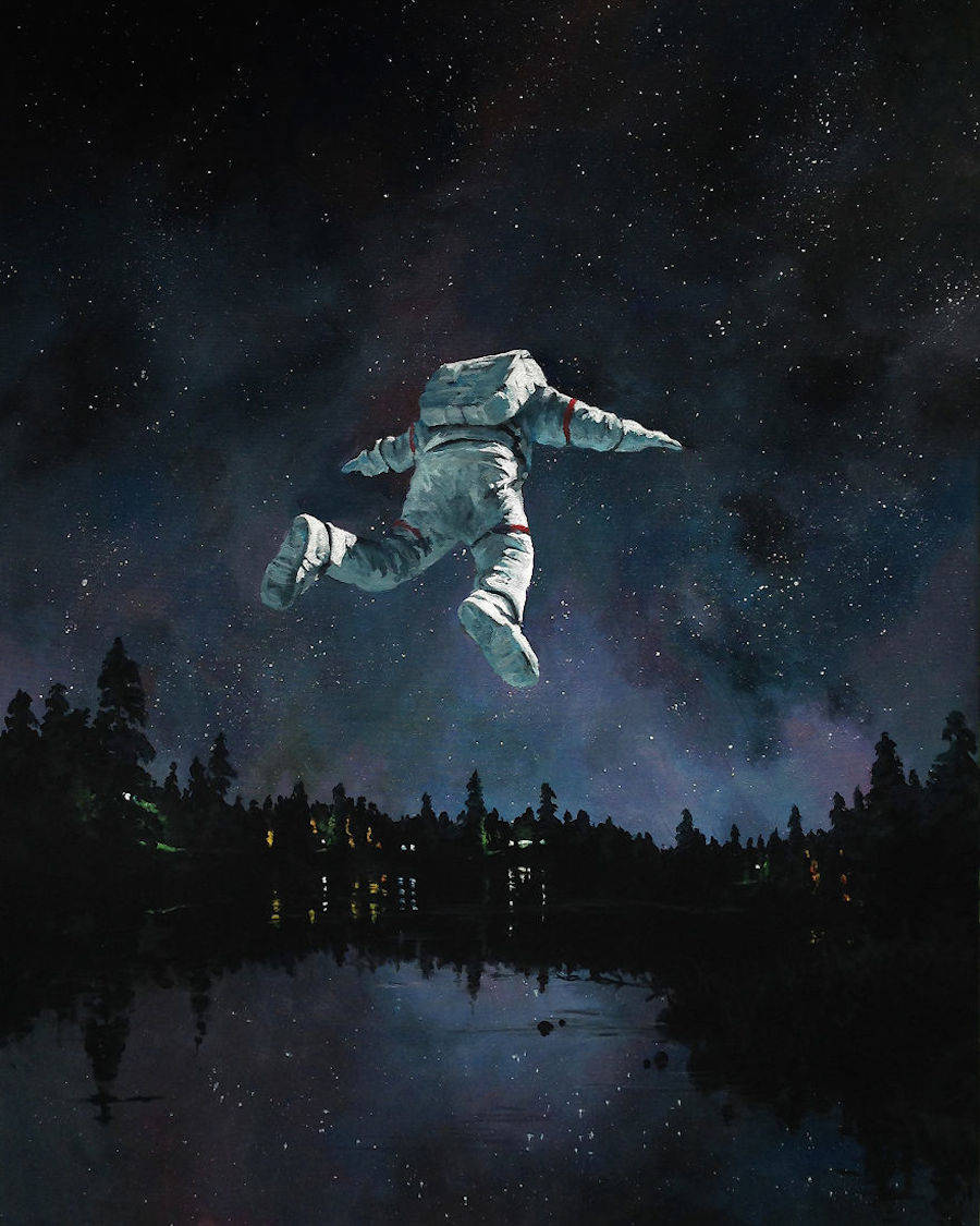 Nice Paintings of Astronauts in Diverse Situations