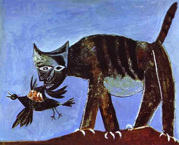 Пикассо. Кошка, схватившая птицу.(1939)