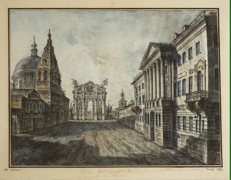 Alexeyev Fiodor - Strastnaya (Passion) Square (Triumphal Gates Church of St Demetrius of Thessalonica and Kozitskayas Mansion) - JRR-6787