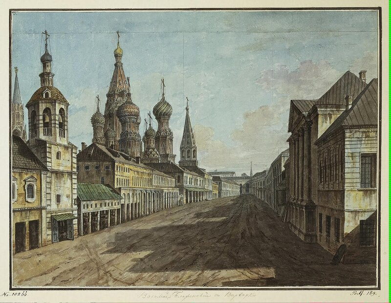 Alexeyev Fiodor - View of the Cathedral of St Basil the Blessed from Moskvoretskaya Street - JRR-6534