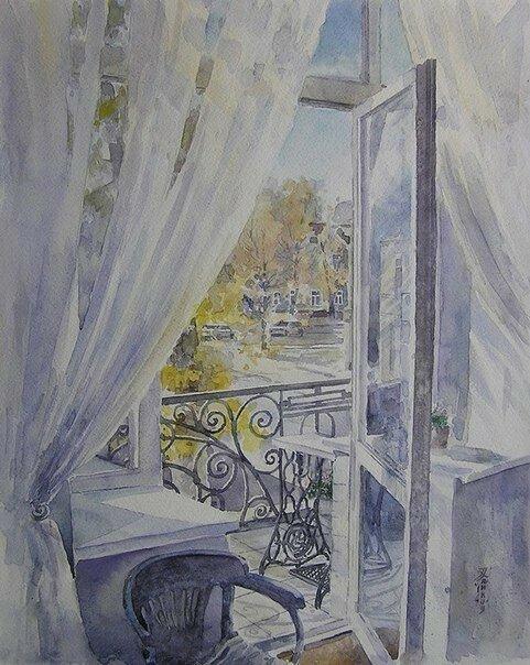 За окном сменяет акварель природа. Художник Игорь Хайков