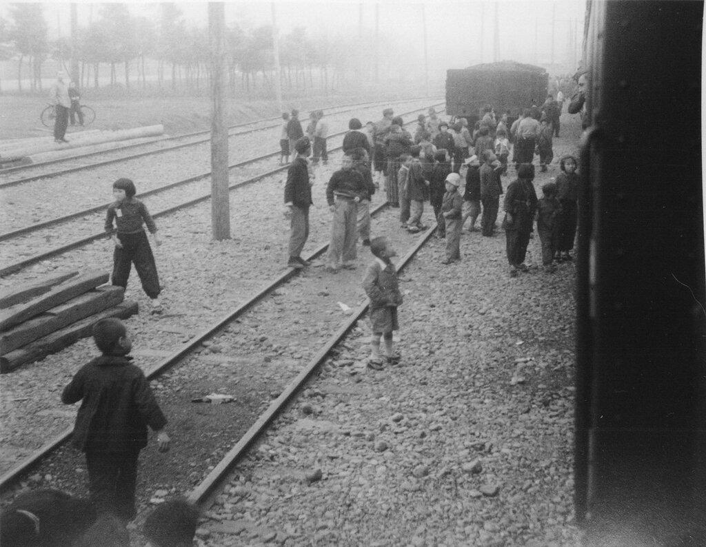 Children begging for candy, April 10, 1946
