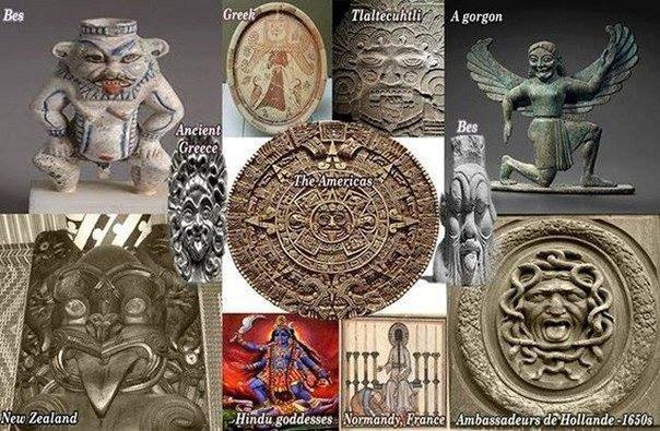 Древние божества, показывающие язык