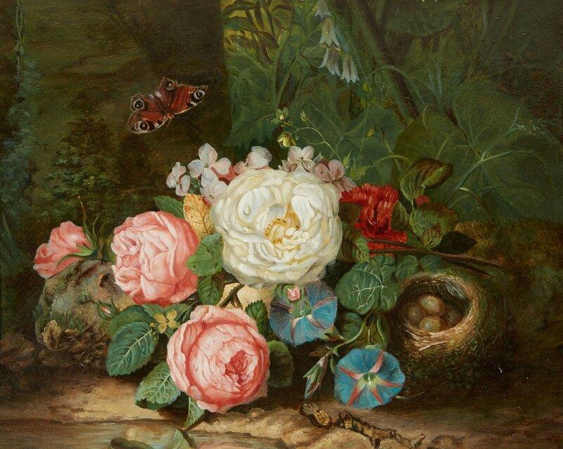 Птичье гнездо и бабочка. Австрийский мастер натюрмортов ХIХ века - Йозеф Лауэр