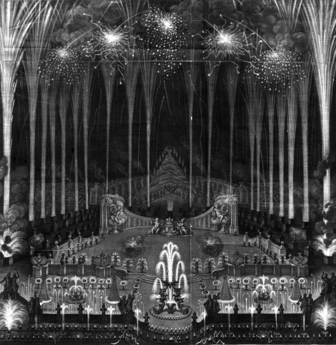 50. И. Штенглин. № 45. Фейерверк и иллюминация, бывшие при Анненгофском дворце. 1744 Меццо-тинто. 46 х 42
