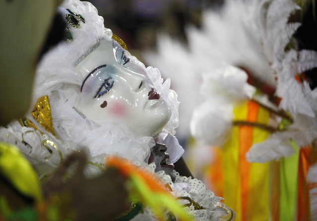 A reveller of the Imperatriz samba school performs during the carnival parade at the Sambadrome in R