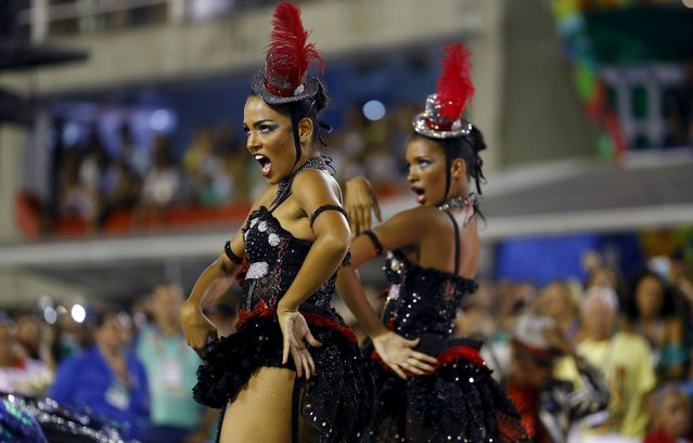 Revellers of the Salgueiro samba school perform during the carnival parade at the Sambadrome in Rio