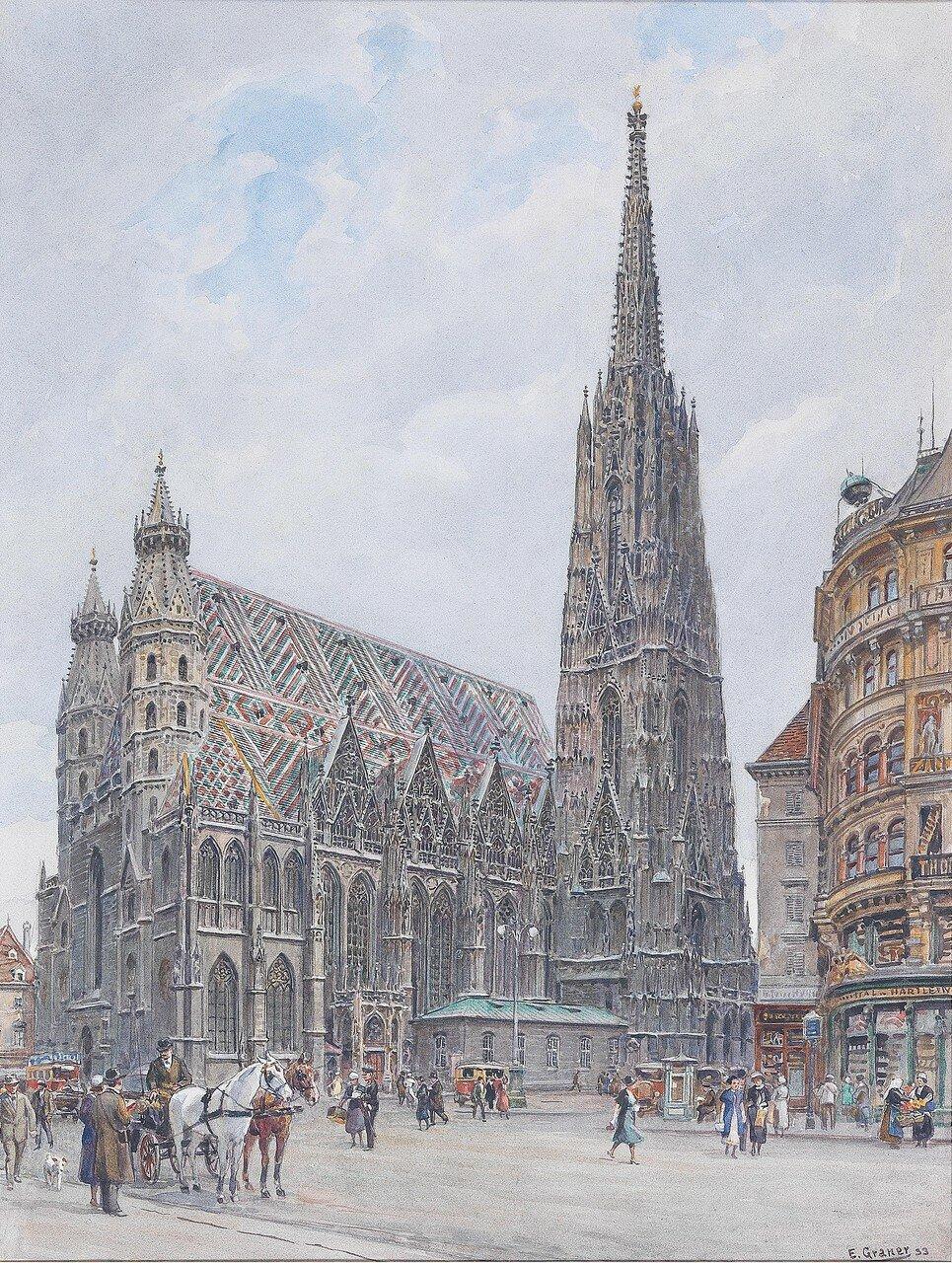 Ernst Graner(Werdau, Sachsen 1865-1943 Wien) Der Stephansplatz mit Staffage und Fiaker