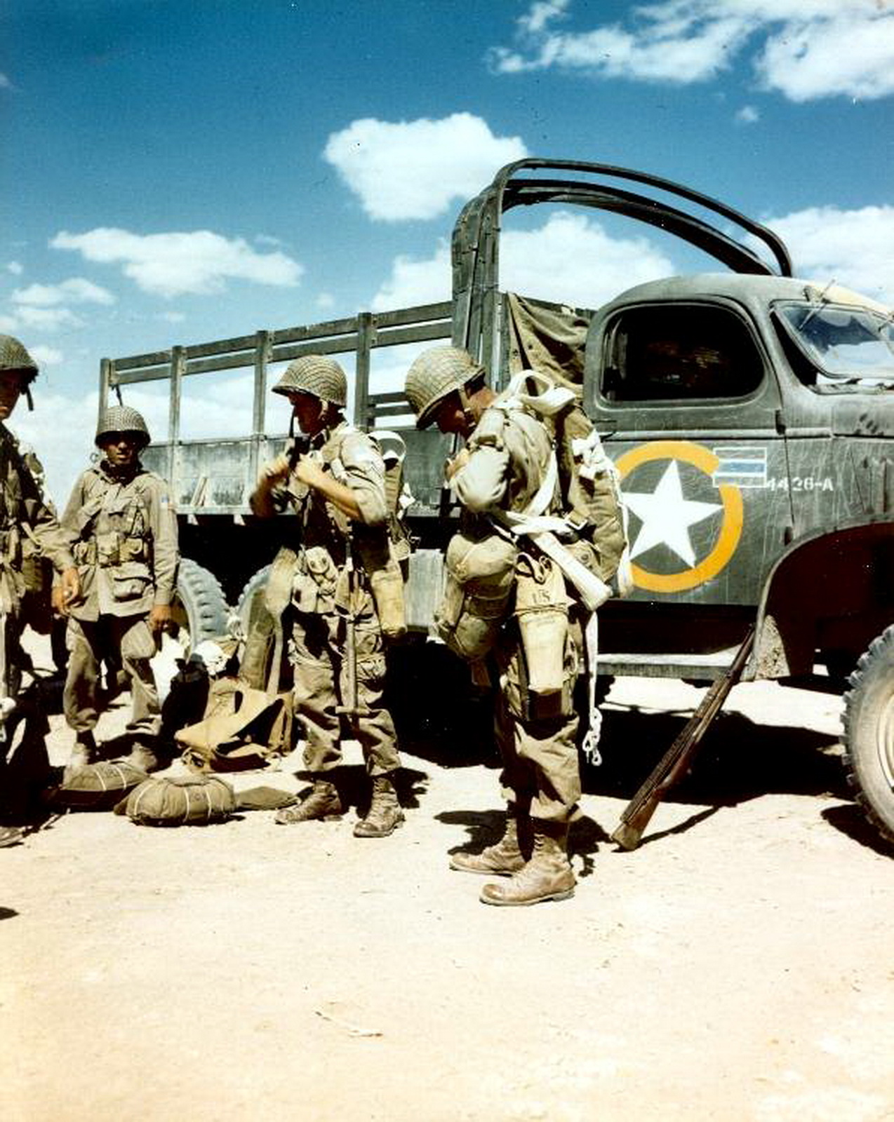 US Paratroopers of the 82nd Airborne preparing for a jump, North Africa.jpg
