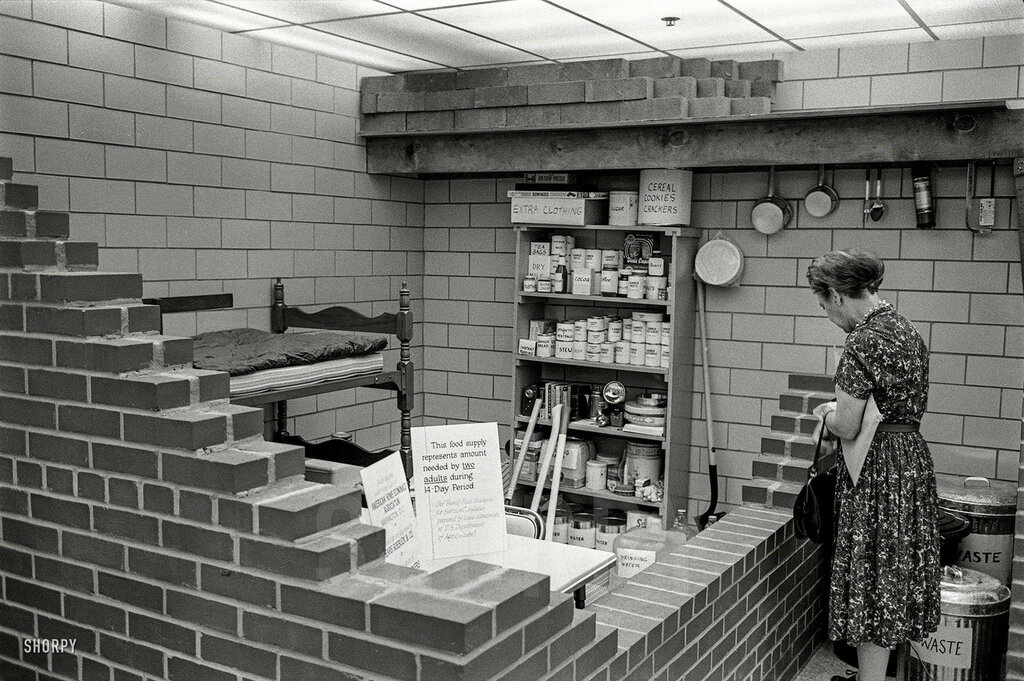 Oct. 11, 1961. New York Civil Defense Commission Family Shelter display.