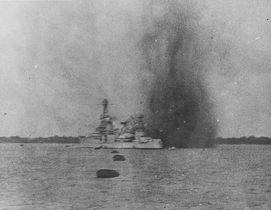 USS AUGUSTA (CA-31) Shortly after two bombs fell off her starboard quarter from a Chinese Air Force Northrop 2E bomber. The incident took place shortly after 4:30pm on the afternoon of Saturday, 14 August 1937. There were no casualties but fragments showered the ship. The AUGUSTA was mistaken for a Japanese ship.
