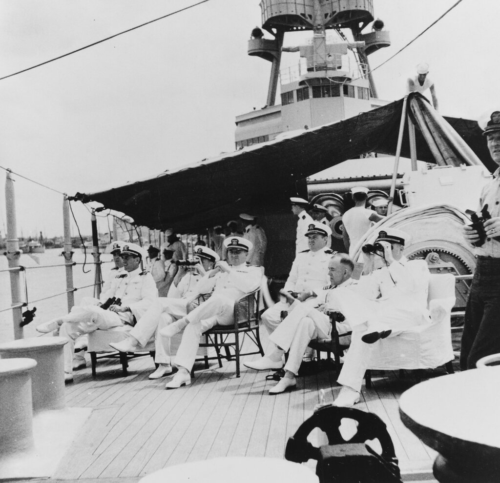USS AUGUSTA (CA-31) Ship's officers view Sino-Japanese hostilities in the summer of 1937. Identifiable officers are (from left): Lieutenant H.C. Allan; Lieutenant J.P. Walker, Lieutenant P. Henry, Jr.; Lieutenant Commander E.A. Eddiegordie (Supply Corps); Lieutenant J. Raby; Lieutenant Commander T.O. Summers (Medical Corps).