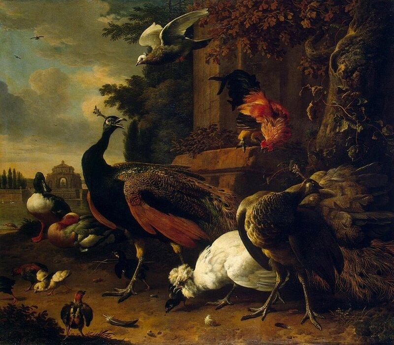 Мельхиор де Хондекутер, Птицы в парке, 1686 г., 155х135 см., Эрмитаж