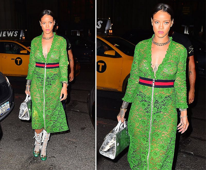 Рианна в полупрозрачном платье