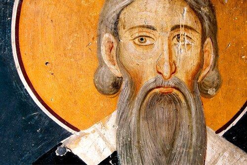 Святитель Савва, первый Архиепископ Сербский. Фреска церкви Святых Иоакима и Анны (Королевской церкви) в монастыре Студеница, Сербия. 1314 год.