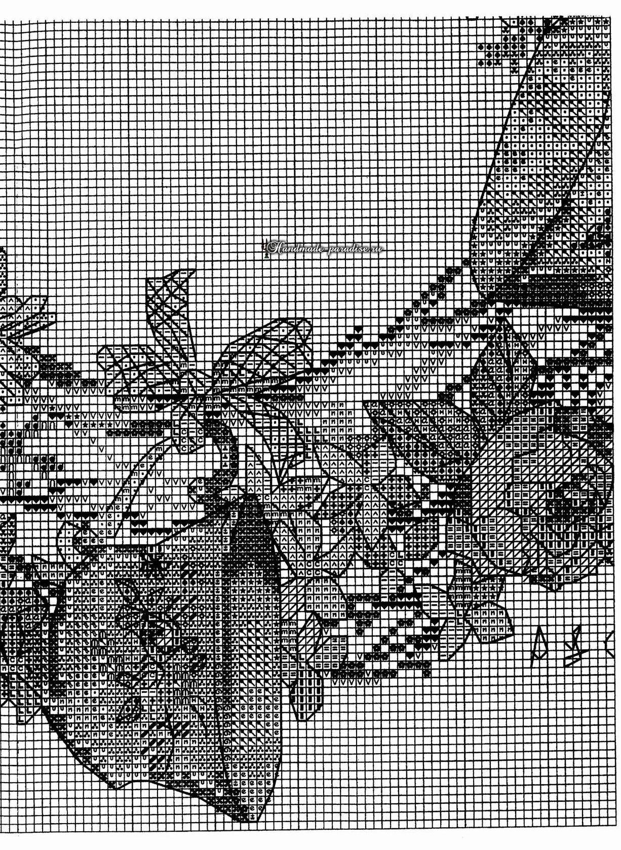 Цветочный венок с чайными чашками. Схемы вышивки