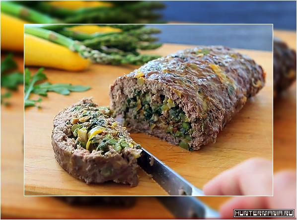 Мясной рулет с луком-пореем