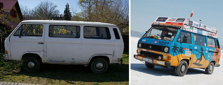 2 Мы хотели повидать мир, но у нас не хватало денег, поэтому мы купили старый фургон за 600 долларов