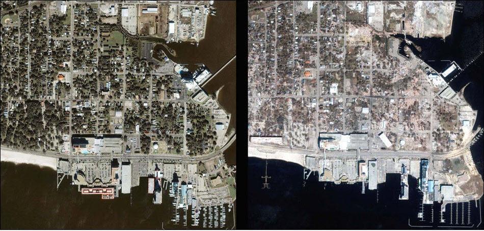 6. Город Билокси до и после удара урагана Катрина.