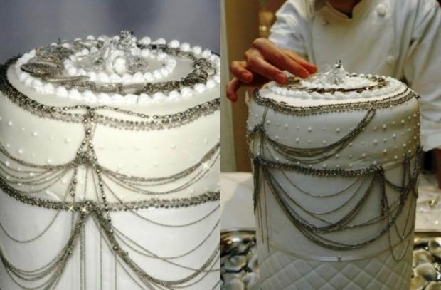 8. Платиновый торт ($130 тыс.) Этот торт украшен ювелирными изделиями из платины Платиновый торт, со