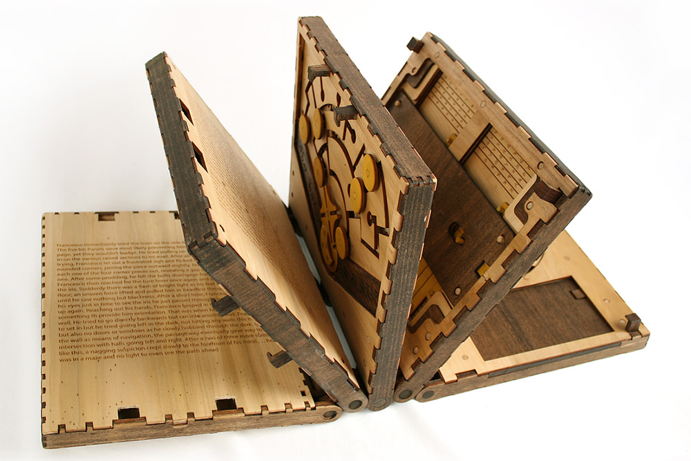 This Incredible Wooden Book Is a Series of Puzzles That Have to Be Solved to Continue Reading (10 pics)