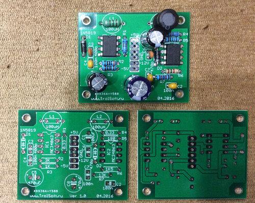 Платки преобразователя напряжения DC/DC в +12 и -5В для КР580ВМ80А