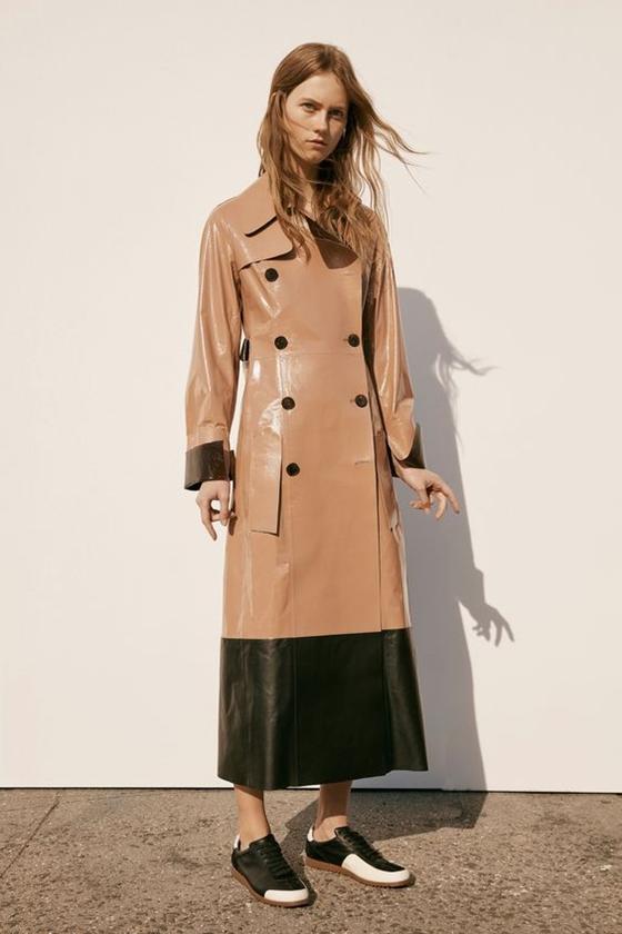 Calvin Klein Collection бежевый кожаный тренч