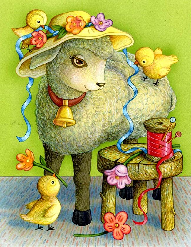 Новым, открытка с овечкой фото