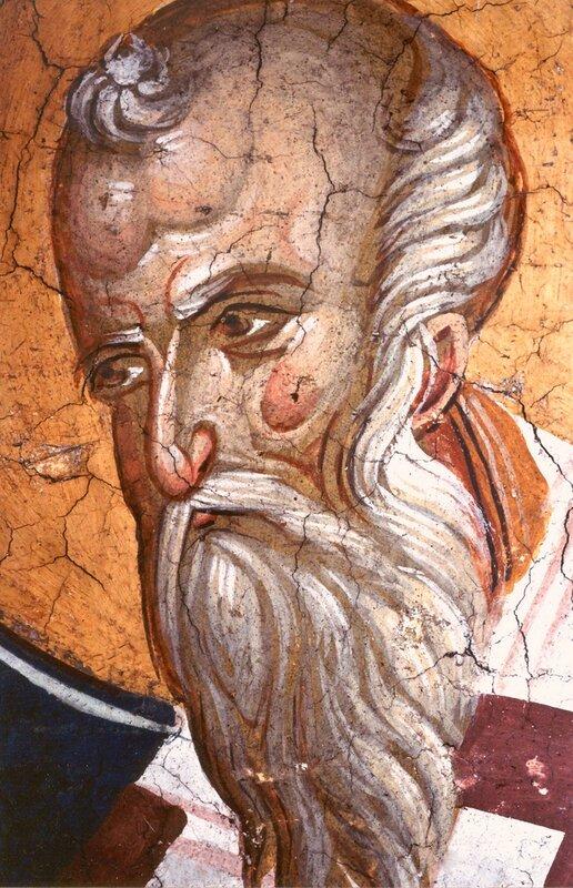 Священномученик Поликарп, Епископ Смирнский. Фреска монастыря Высокие Дечаны, Косово, Сербия. Около 1350 года.