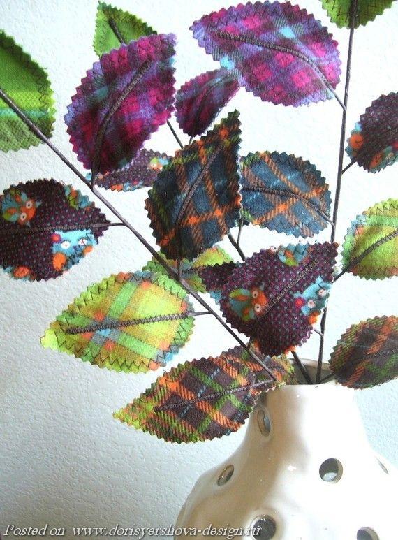 листья из текстиля, ветки, декор, осень