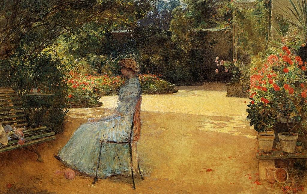 The Artist's Wife in a Garden, Villiers-le-Bel, 1889.jpeg