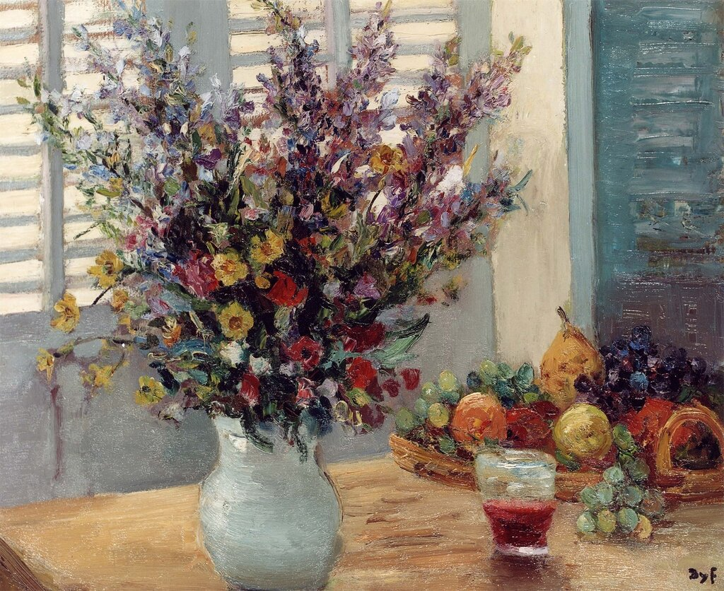 Marcel Dyf- A Vase of Flowers & Fruit on a Table