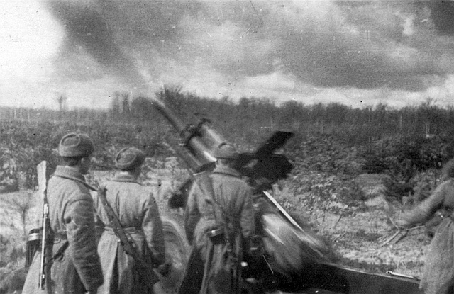 Огонь по немецким позициям в районе Винницы ведут артиллеристы 1663 иптап