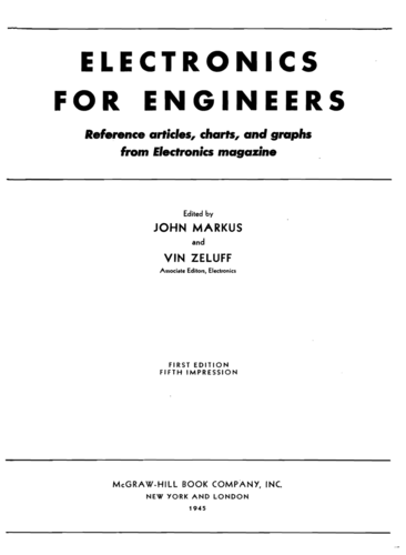 Electronics for Engineers - Johm Markus and Vin Zeluff - Book Cover