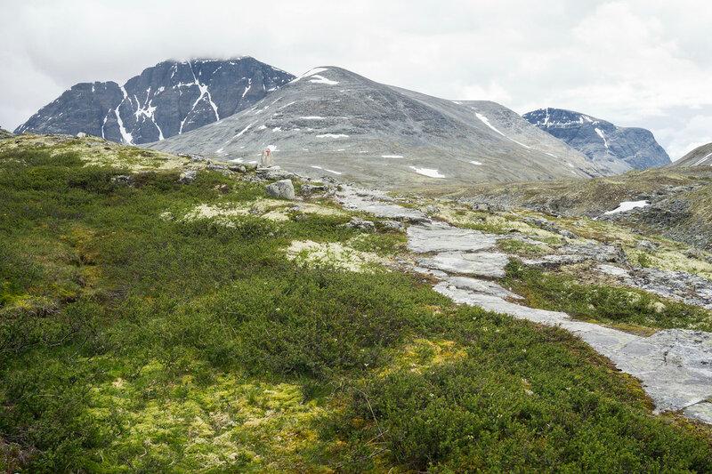 размеченная пешеходная тропа в горах Рондане (Rondane), Норвегия
