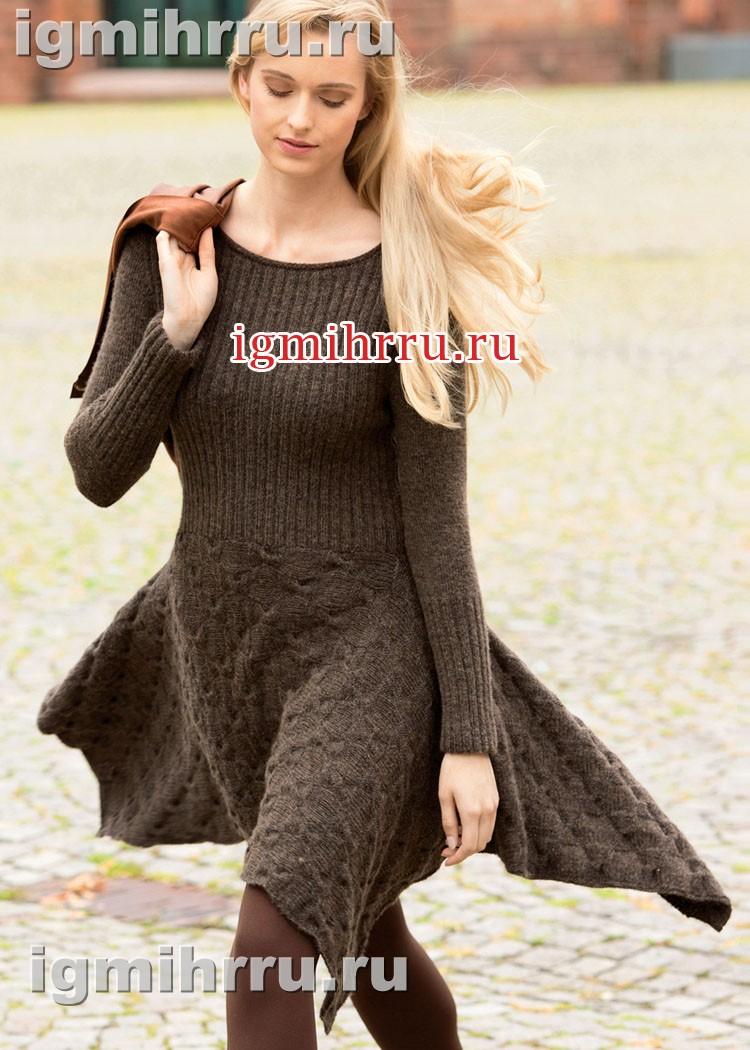 Теплое коричневое платье с юбкой из кос. Вязание спицами