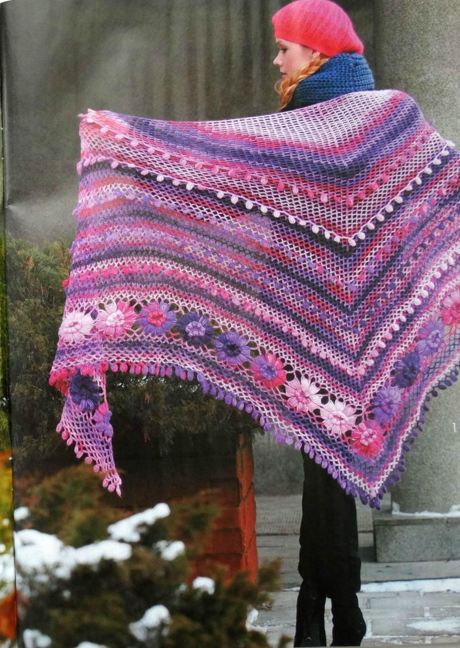 схемы из журнал мод вязание шалей