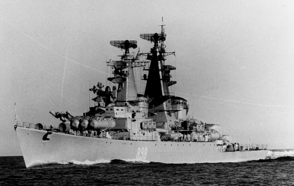 GROZNYY, Soviet guided missile cruiser, photographed in the Baltic Sea during mid-1962, soon after completion.