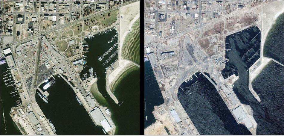 11. Гальфпорт, до и после удара урагана Катрина в 2005.