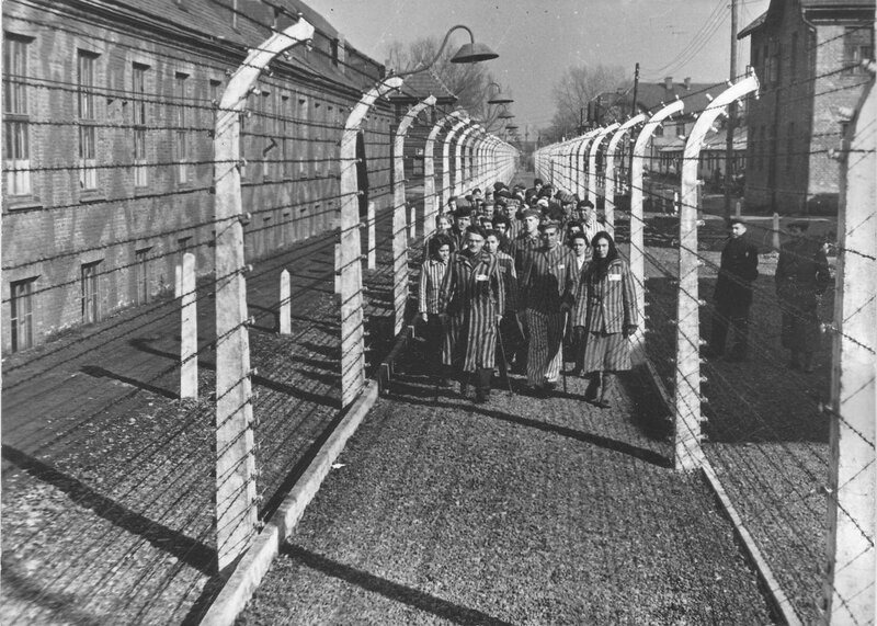Группа узников концлагеря Освенцим (Аушвиц-1) у колючей проволоки после освобождения
