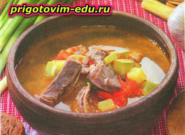 Суп с уткой и овощами