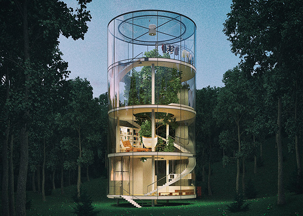 Tubular glass house by Aibek Almassov