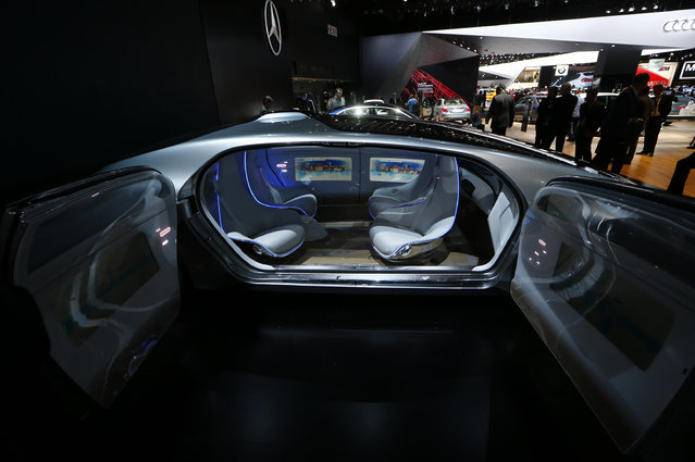 View of the seating area on the Mercedes Benz F015 Luxury in Motion concept on display during the se