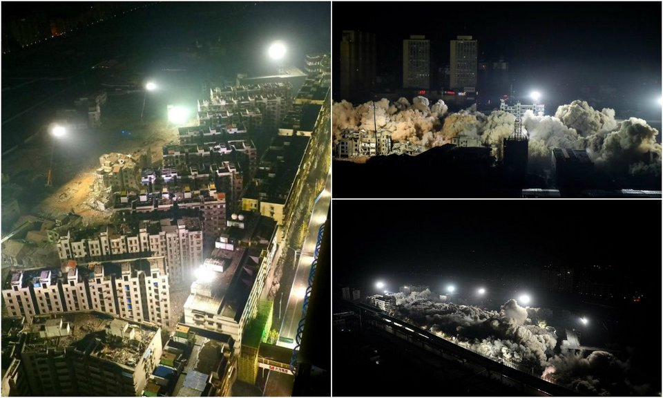 19 многоэтажек снесли за один раз в Китае