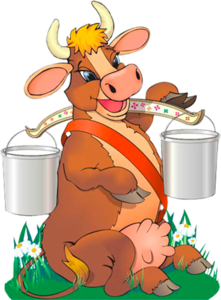 корова с ведрами