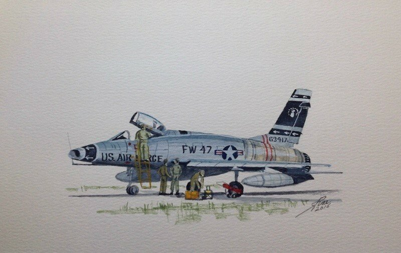 Small freehand sketch of one of my all time favourites F100 Super Sabre 'The Hun'.