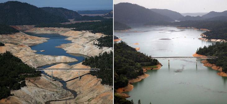 1. Озеро Оровилль 19 августа 2014 во время великой засухи и то же место 11 апреля 2017. Нажмите