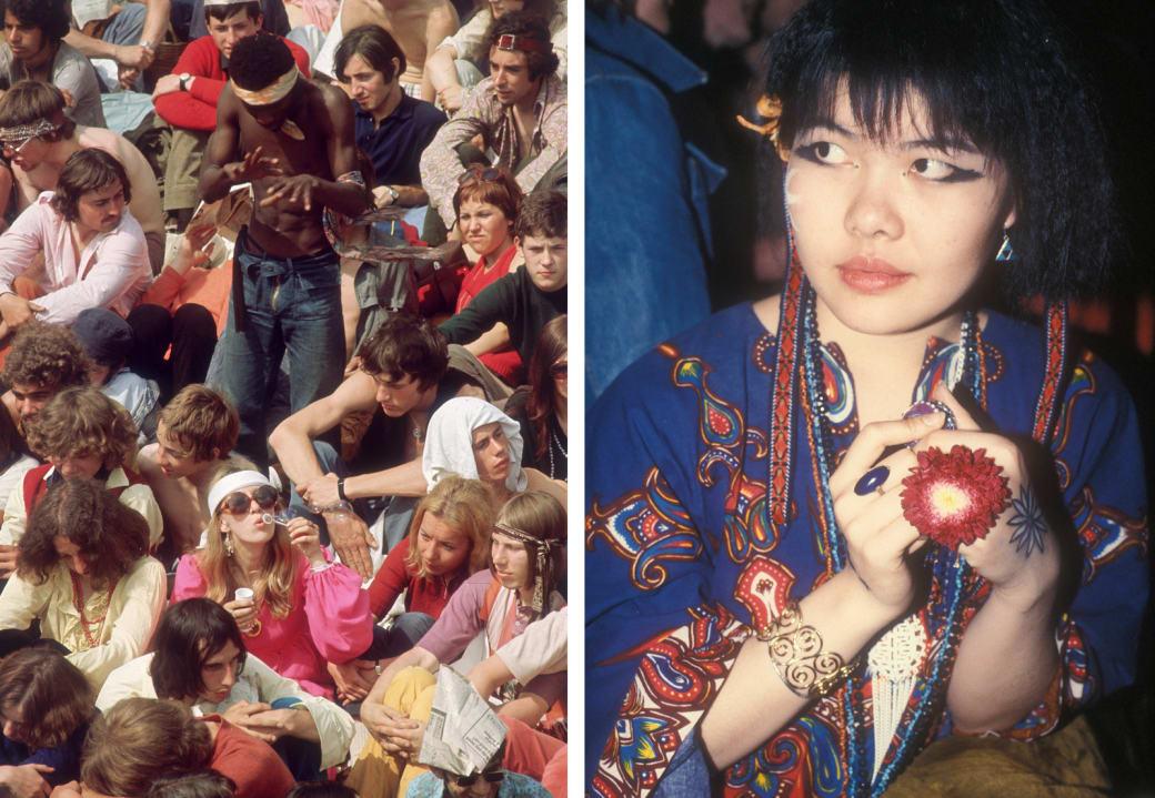 Слева: фанаты ждут начала концерта Rolling Stones в лондонском Гайд-парке, июль 1969 года. Справа: я